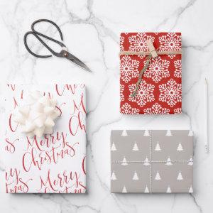 Red Merry Christmas Snowflakes Holiday Christmas Wrapping Paper Sheets