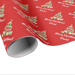 Red Merry Christmas Tree wrapping paper