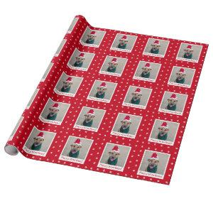 Red Merry Woofmas Personalized Pet Dog Photo Wrapping Paper