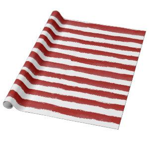 Red Modern Strip Christmas Holiday Gift Wrapping Paper