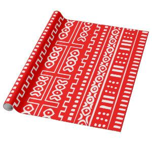 Red Mud Cloth Pattern Wrapping Paper