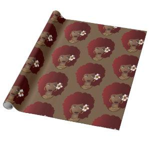 Red Natural Hair Beauty with Flower, Brown Wrapping Paper