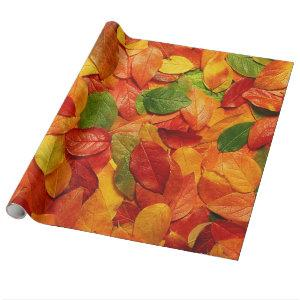 Red Orange Gold & Green Fall Oval Leaves Wrapping Paper