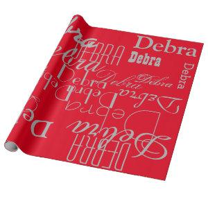 red, pattern of names wrapping paper