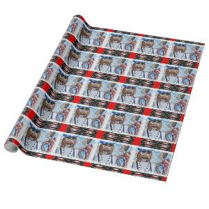 Red Patterned Nutcracker Kiss Wrapping Paper