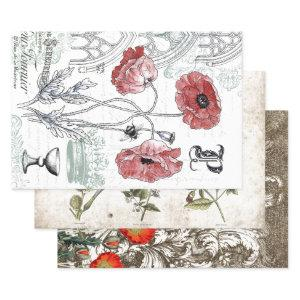 RED POPPY BOTANICALS HEAVY WEIGHT DECOUPAGE WRAPPING PAPER SHEETS