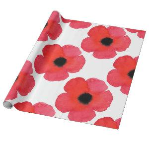 Red Poppy Pattern Wrapping Paper