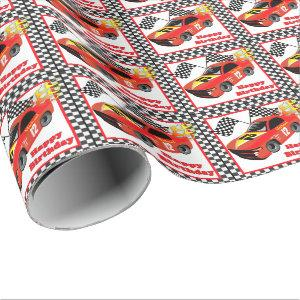 Red Race Car Personalized Birthday  Gift Wrapping Paper