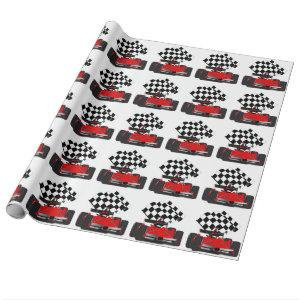 Red Race Car with Checkered Flag Wrapping Paper
