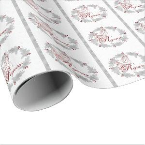 Red Rejoice Silver Leaf Pine Wreath Wrapping Paper