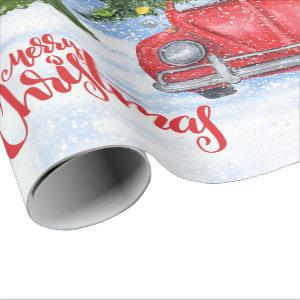 Red Retro Car and Christmas Tree Wrapping Paper