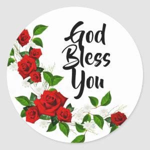 Red Roses white flowers God Bless You Classic Round Sticker