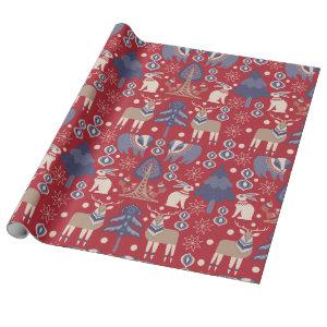 Red Scandinavian Winter Reindeer Rabbit Wrapping Paper