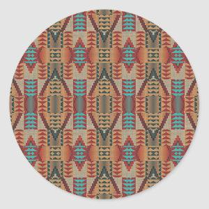 Red Turquoise Orange Brown Ethnic Pattern Art Classic Round Sticker