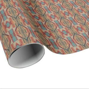 Red Turquoise Orange Brown Ethnic Pattern Art Wrapping Paper
