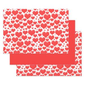 Red Valentine Hearts Floating Pattern Wrapping Paper Sheets