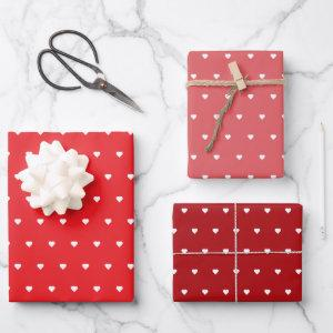 Red Valentine Hearts Wrapping Paper Sheets