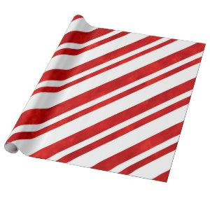 Red Watercolor Candy Cane Stripes Wrapping Paper
