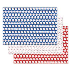 Red White and Blue Baseball Wrapping Paper Sheets