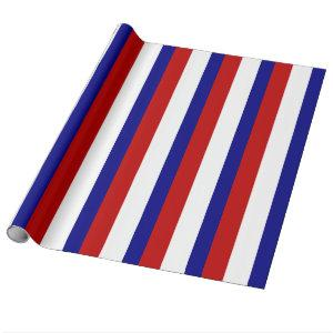 Red White and Blue Patriotic Stripes Wrapping Paper