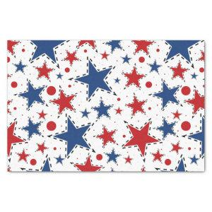 Red, White and Blue Stars Print Pattern Tissue Paper