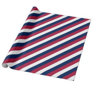 Red White and Blue Stripes Wrapping Paper