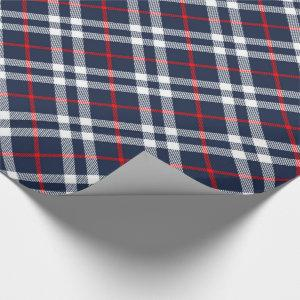 Red White and Blue Tartan Wrapping Paper