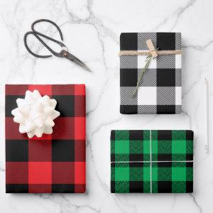 Red White and Green Chevron Buffalo Plaid Wrapping Paper Sheets
