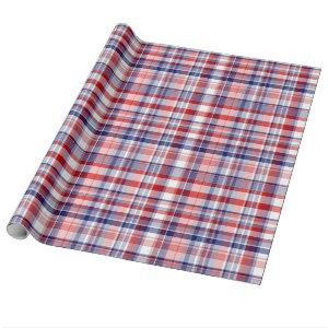 Red, White, Blue Preppy Madras Plaid Wrapping Paper
