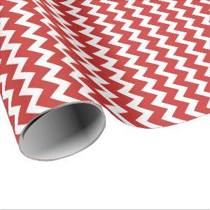 Red & White Chevron pattern Wrapping Paper