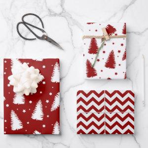 Red White Christmas Trees Chevron Holiday Wrapping Paper Sheets