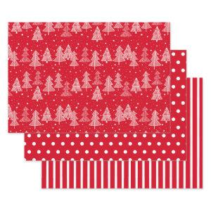 Red White Christmas Trees Polka Dots Stripe Wrapping Paper Sheets