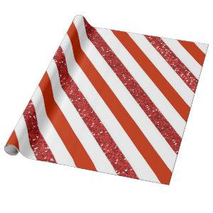 Red White Glitter Striped Holiday Wrapping Paper