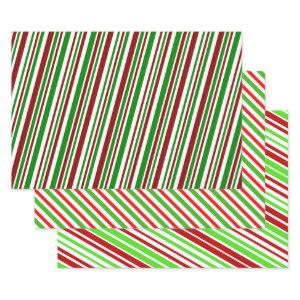 Red, White, Green Christmas-Style Stripes Pattern Wrapping Paper Sheets