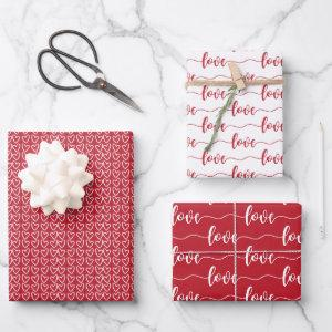 Red & White Hearts Script Love Valentine's Day Wrapping Paper Sheets