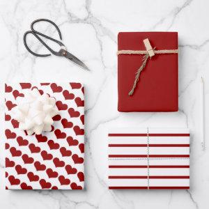 Red White Hearts Stripes Valentine Wrapping Paper Sheets