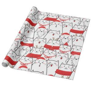 Red White Kitty Cats Floral Christmas Holiday Gift Wrapping Paper