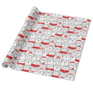 Red White Kitty Cats Funny Christmas Holiday Gift Wrapping Paper