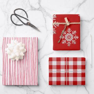 Red White Lines Silver Snowflake Red White Plaid Wrapping Paper Sheets