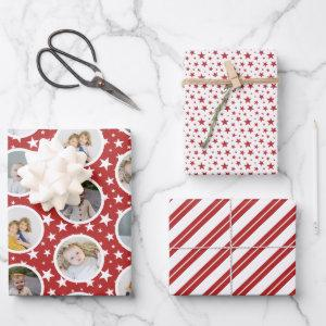 Red White Stars Stripes Photo Collage Christmas  Sheets