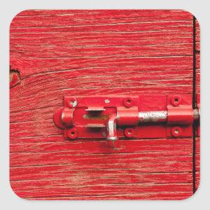 Red Wooden Bolt Square Sticker