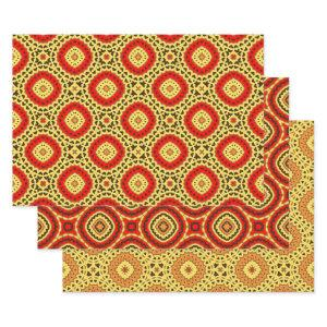 Red Yellow Orange Oriental Geometric Patterns Wrapping Paper Sheets