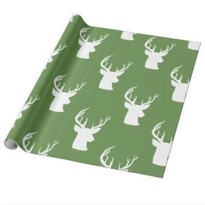 Reindeer | Antler | Stag Christmas Green Pattern Wrapping Paper