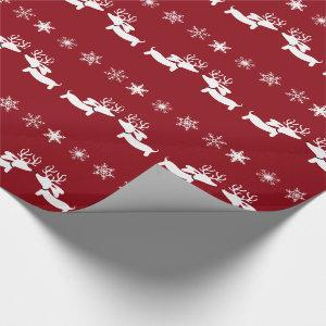 Reindeer Dachshund Snowflakes Gift Wrap Wrapping