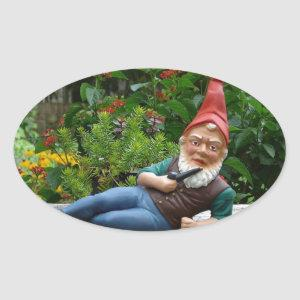 Relaxing Gnome with Santa Cap Oval Sticker