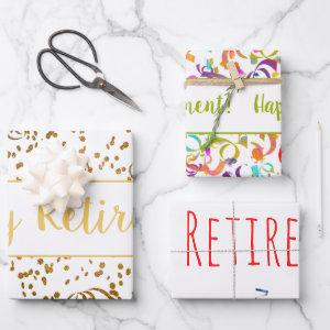 Retirement Colorful Confetti Streamers Gold Custom Wrapping Paper Sheets