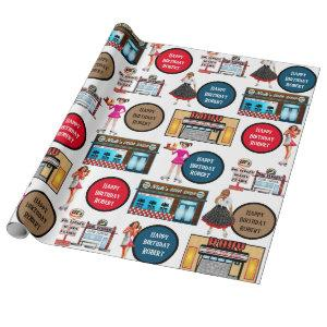 Retro 1950's Car Hop Personalized Wrapping Paper