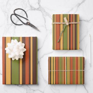 Retro 70s Stripes Brown Avocado Orange Mustard Wrapping Paper Sheets