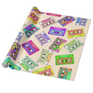 Retro 80's 90's Neon Patterned Cassette Tapes Wrapping Paper