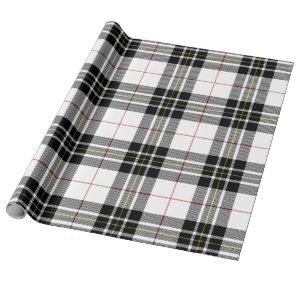 Retro Black White Christmas New Year Tartan Plaid Wrapping Paper